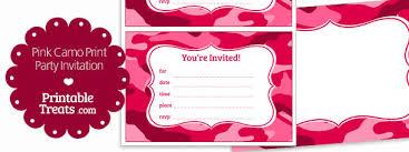 printable pink camo invitations u2014 printable treats com