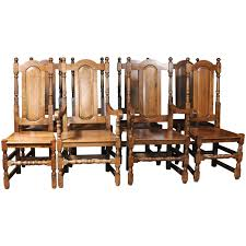 set of eight english elizabethan tudor oak dining chairs from a
