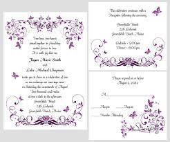 Wedding Ceremony Invitation Card 100 Personalized Custom Purple Butterfly Swirl Bridal Wedding