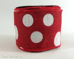 wired ribbon burlap wired ribbon 4 with white polka dots ten