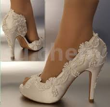 wedding shoes heels 3 4 heel satin white ivory lace pearls open toe wedding shoes