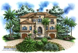 House Plans Coastal Beach House Plan 3 Story Mediterranean Style Outdoor Kitchen Pool