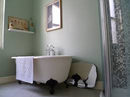 gray wall paint standalone bathtub with black claw feet shelving