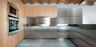 Kitchen Stainless Steel Cabinets Contemporary Kitchen Stainless Steel Solid Wood Wooden 01