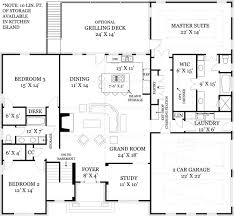 One Story House Plans With Two Master Suites I Like The Foyer Study Open Concept Great Room And Kitchen Portion