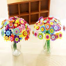 button flowers kids diy button bouquet flower craft kits kindergarten handmade