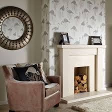 Living Room Art House Arthouse Lagoon Vintage Flamingo Wallpaper Green Grey Neutral