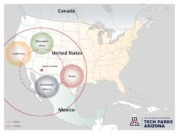 California Arizona Map by Tech Parks Arizona Provide Technology Businesses Global Advantage