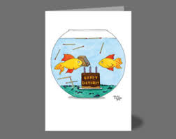 fish birthday card etsy