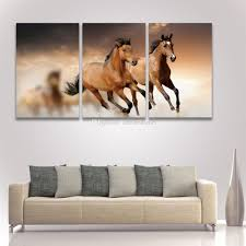 2017 printed 3 panel painting on canvas art running horse