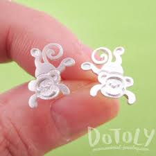 allergy earrings monkey chimpanzee shaped allergy free stud earrings in silver