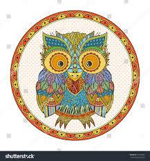 vector zentangle owl illustration ornate patterned stock vector
