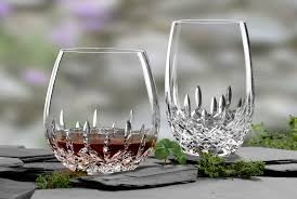 waterford lismore nouveau stemless white wine glasses pair
