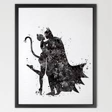 batman and catwoman quote watercolor painting print super hero