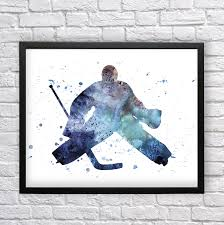 Boys Wall Decor Goalie Watercolor Art Hockey Player Printable Art Hockey Poster