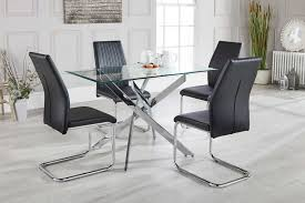 glass and metal dining table leonardo glass metal modern dining table with 4 chairs free
