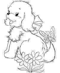 cute puppy dog playing with butterfly coloring page color luna