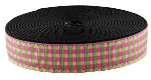 gingham ribbon buy 1 inch pink and green gingham ribbon on black webbing 1