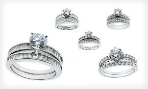 groupon wedding rings cubic zirconia wedding ring sets groupon goods