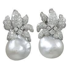 pearl and diamond earrings baroque south sea pearl and diamond earrings jeri cohen