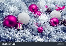 pink silver globes on tinsel background stock photo 2301184