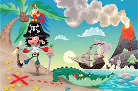 cartoon pirate kids wallpaper wall mural muralswallpaper co uk