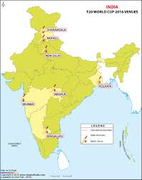 India Map World by T20 World Cup 2016 Venues Stadium Location Address Capacity