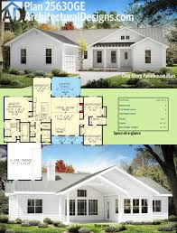 One Story House Plans With Two Master Suites Plan 25630ge One Story Farmhouse Plan Farmhouse Plans Square