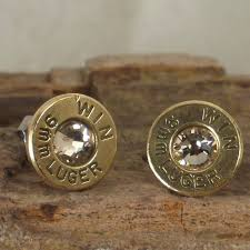 bullet stud earrings bullet earrings stud earrings ultra thin 9mm luger