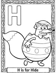 dora cartoon h is for hide alphabet coloring page alphabet