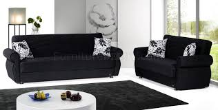 Chenille Sofa And Loveseat Rain Sofa Bed U0026 Loveseat Set In Black Chenille By Rain W Options