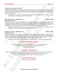 Sample Resume For Teaching Profession by Teacher Resume Sample Page 2