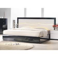 Black Lacquer Bedroom Furniture Turin Black And White Lacquer Bed With Led Lighting J U0026m Furniture