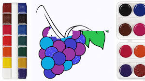 how to draw fruits banana orange apple grapes coloring pages