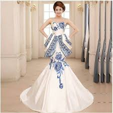 qipao wedding dress 2016 blue and white porcelain dress luxury evening dress