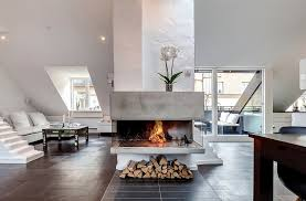 fireplace ideas in the middle of house with solid concrete