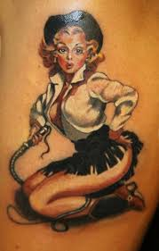 coloured vintage cowgirl pin up tattoo by marco firinu tattoos