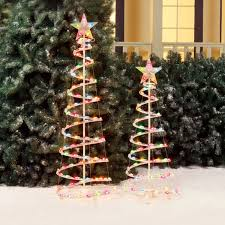 Spiral Lighted Christmas Trees Outdoor by Holiday Time 3 U0027 And 4 U0027 Lighted Spiral Christmas Tree Sculptures
