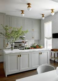 Flush Mount Lighting For Kitchen A Classic Grey Kitchen With Beautiful Brass Accents And Flush