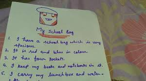 write some lines on my school bag in easy sentences