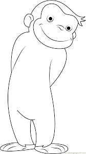 curious george smiling coloring page free curious george