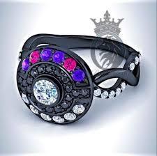 pokeball engagement ring pokeball master purple amethyst and pink topaz on
