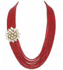 colour beads necklace images Karatcart designer kundan brooch with red colour meenakari and jpg