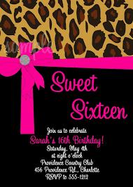 pink leopard sweet 16 sixteen invitations quinceanera invitations