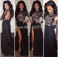 com buy new fashion sheer appliqued bodice evening gowns