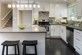 l shaped kitchen designs with island pictures l shaped kitchen design with gray island also black and white paint