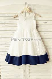 deep v back ivory lace flower dress with navy blue bow