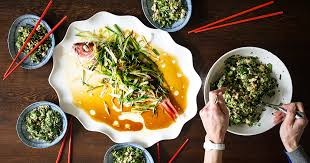 new year dinner recipe recipe whole steamed snapper with chrysanthemum and tofu salad