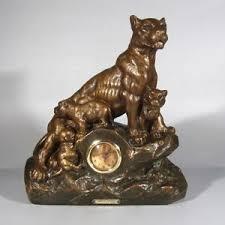 lioness sculpture vintage sculpture statue clock lioness with cubs signed