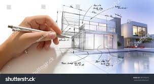 Design Villa by Hand Drafting Design Villa Building Becoming Stock Illustration